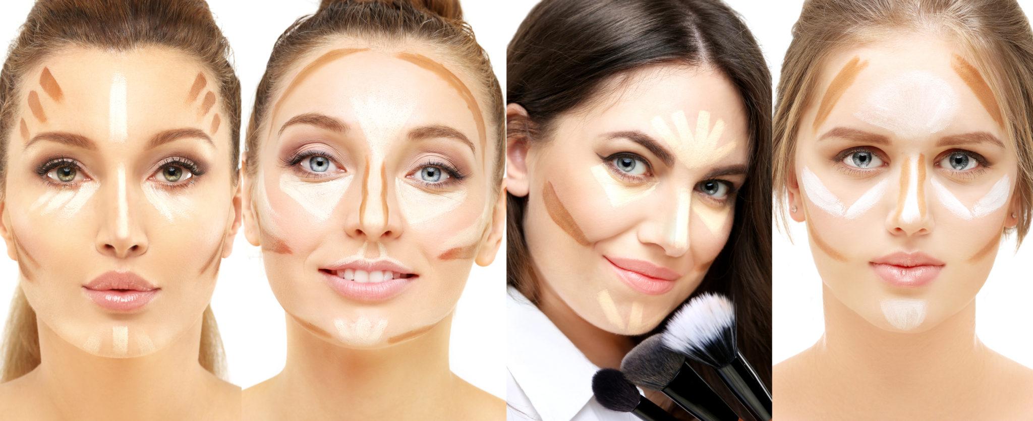 różne sposoby konturowania zależnie od kształtu twarzy
