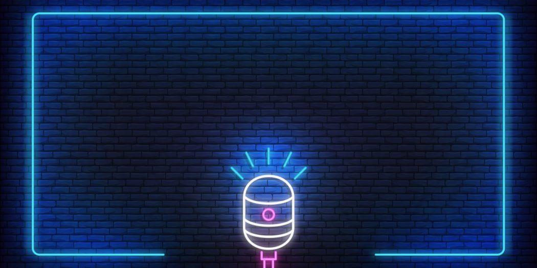 stand up neon mikrofon