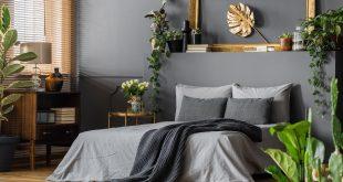 szara elegancka sypialnia
