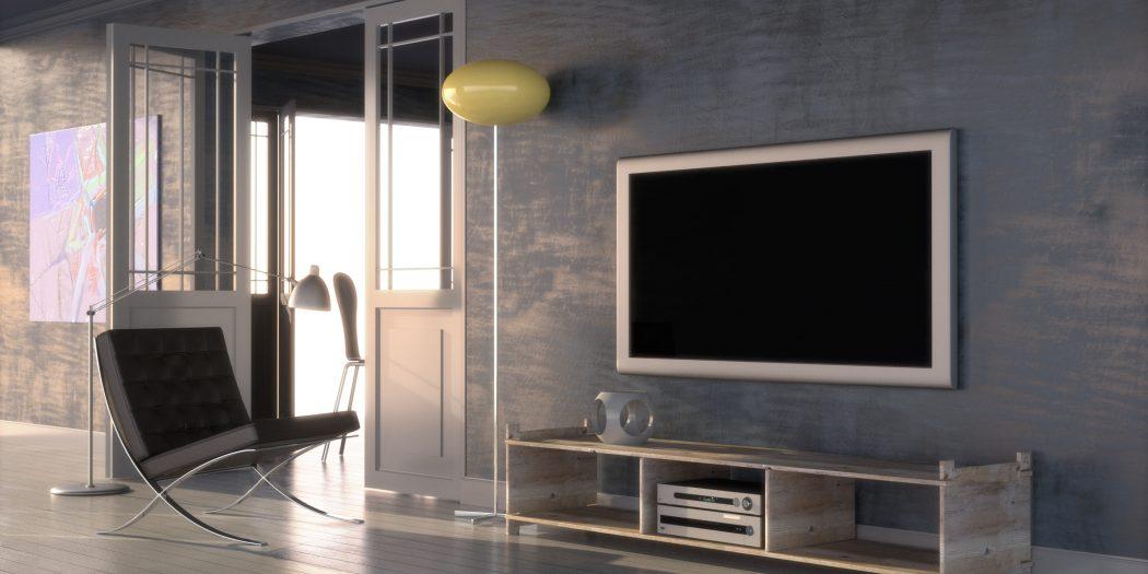 nowoczesne wnętrze z telewizorem