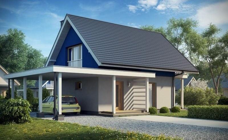 dom jednorodzinny z wiatą garażową