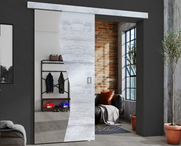 drzwi przesuwne z lustrem
