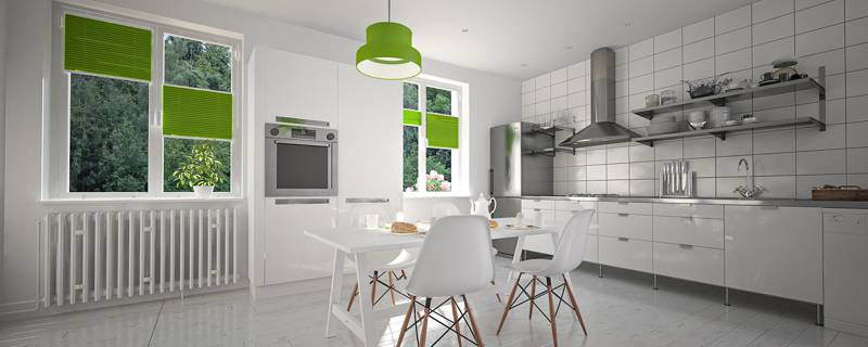Zielone plisy okienne w kuchni