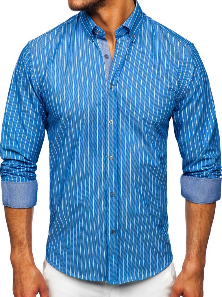 Błękitna koszula męska w paski z długim rękawem