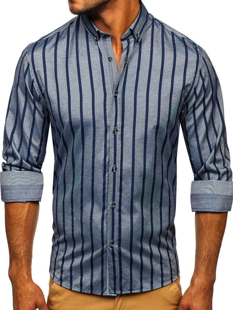 Grafitowa koszula męska w paski z długim rękawem