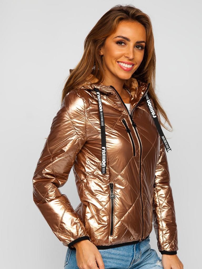 Złota pikowana kurtka damska zimowa z kapturem