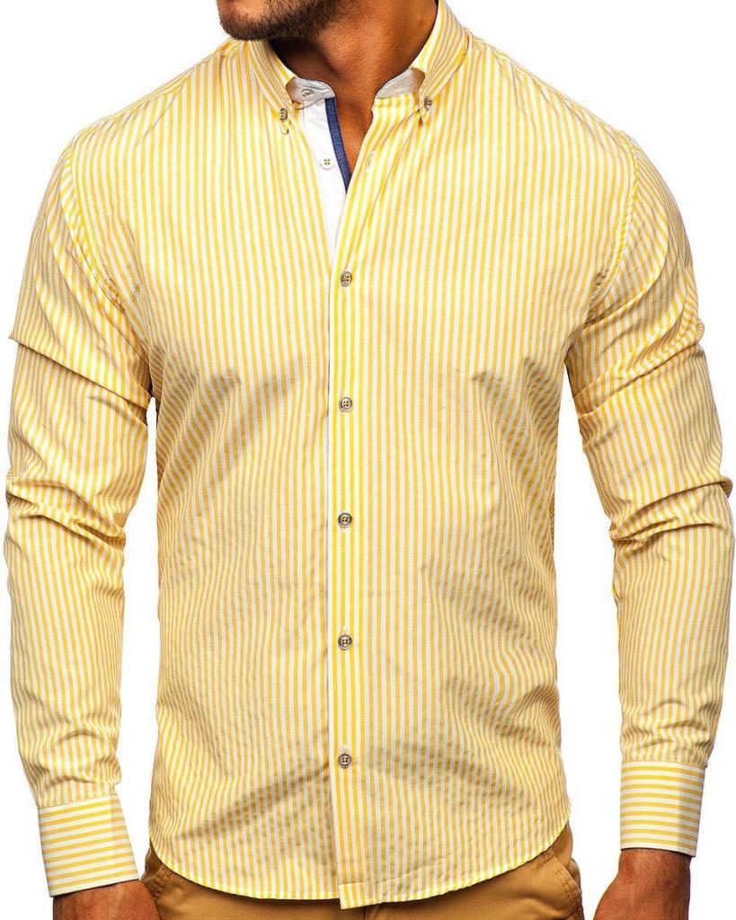 Żółta koszula męska w paski z długim rękawem