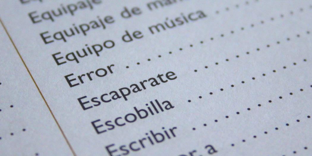 hiszpańskie wyrazy w kolejności alfabetycznej