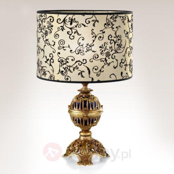 Lampa stołowa z kunsztowną grą detali