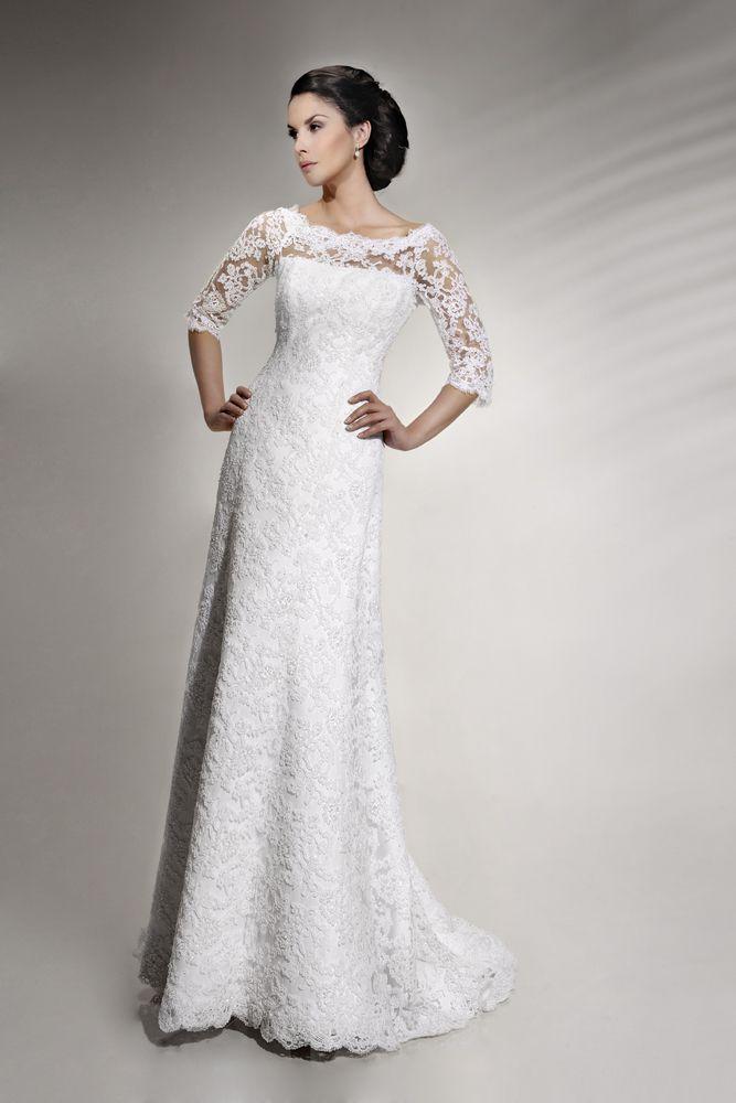 Prosta i elegancka suknia ślubna z wypożyczalni