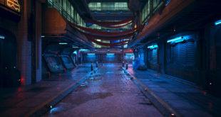 miasto w stylu cyberpunk z neonowymi światłami