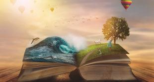 ilustracja otwarta książka magiczne światy