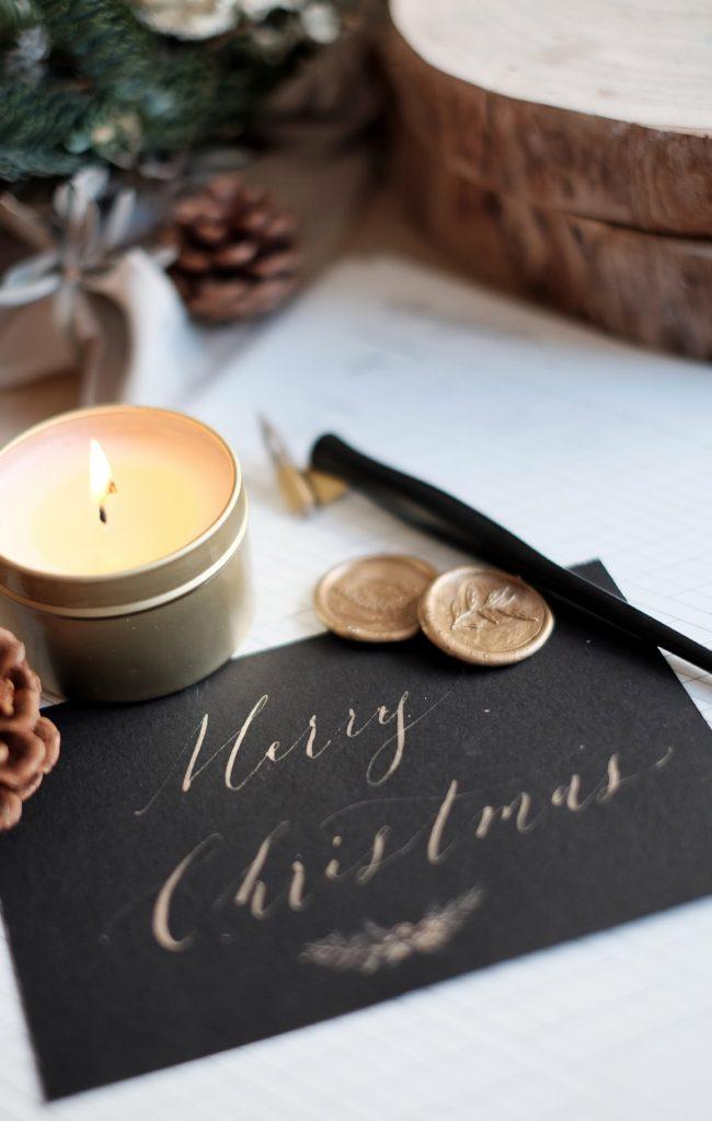 Czarno złota kartka świąteczna