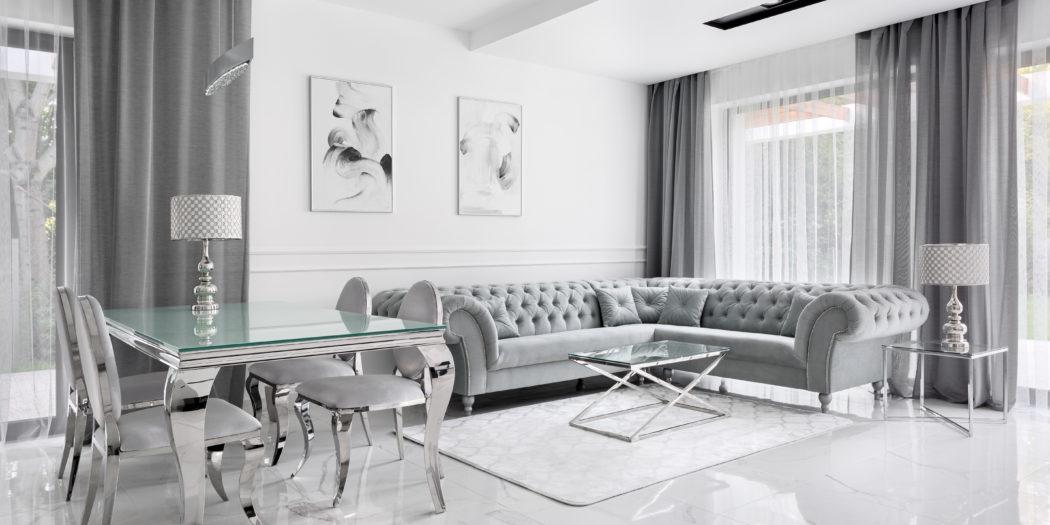luksusowy salon w stylu glamour