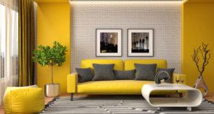 wnętrze w kolorze żółtym