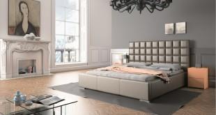 Tapicerowane łóżko w awangardowym stylu
