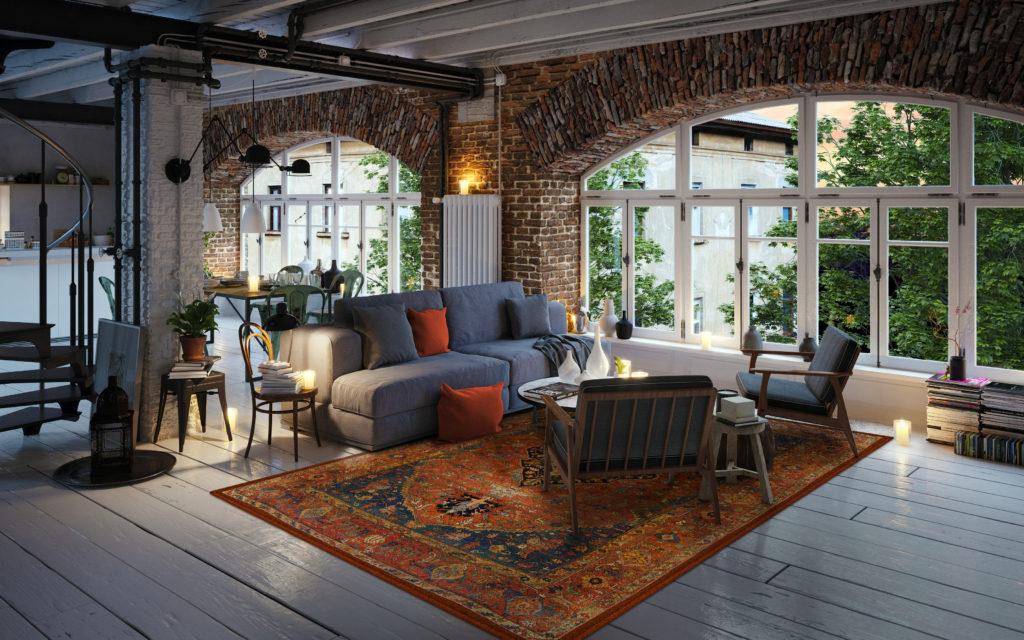 loft z dywanem orientalnym