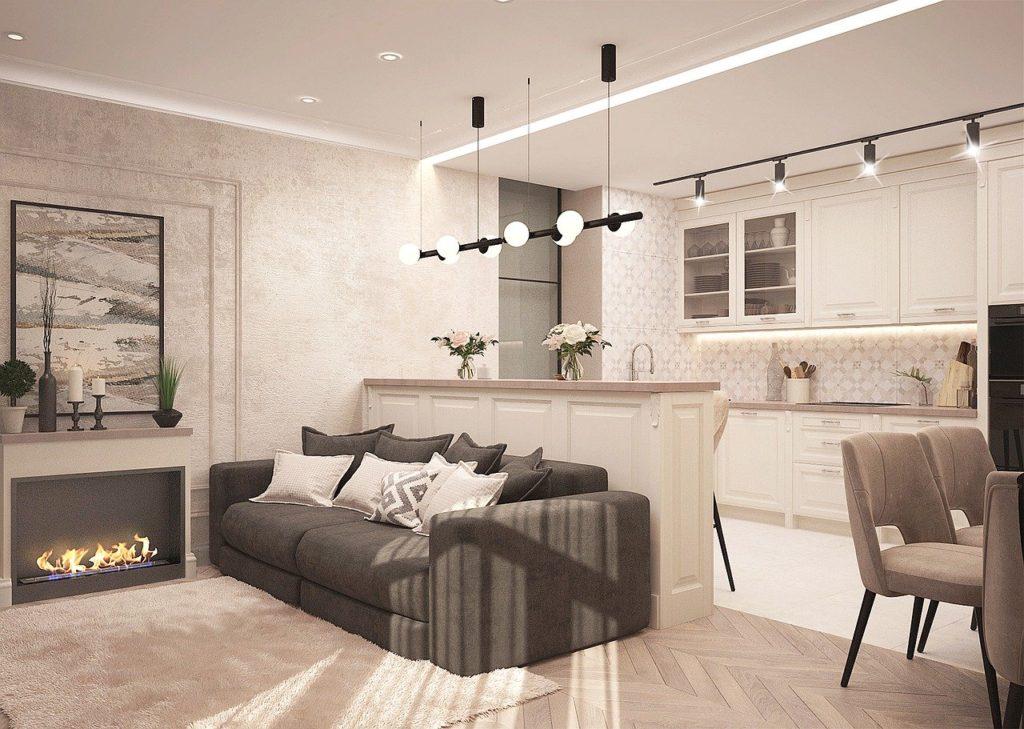 kamień na ścianie w salonie i kuchni