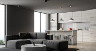 Szare minimalistyczne mieszkanie