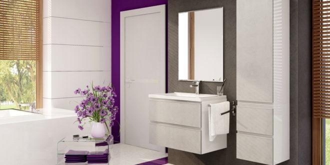 Nowoczesna łazienka w bieli i fiolecie