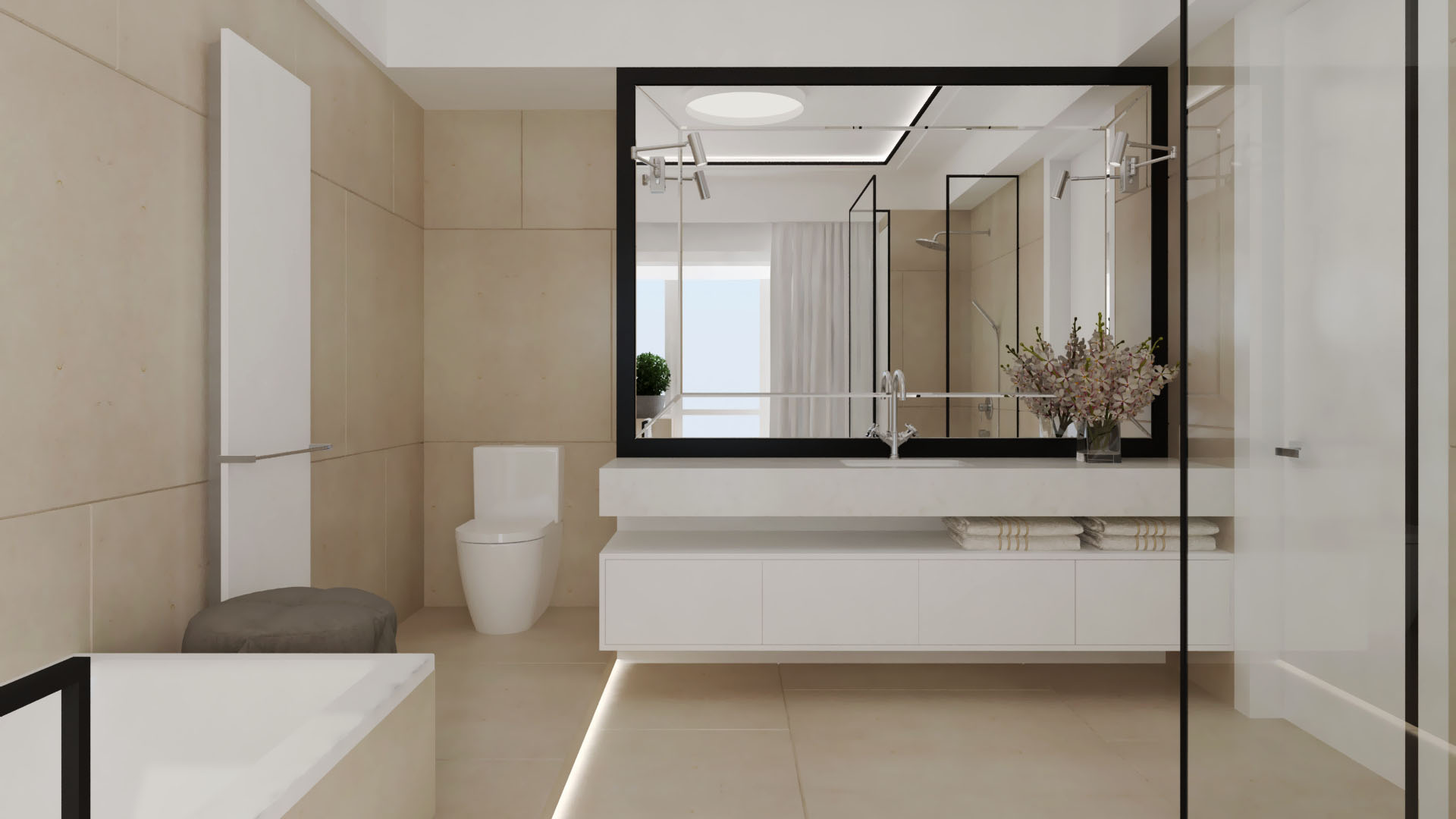 Nowocześnie zaaranżowana jasna łazienka