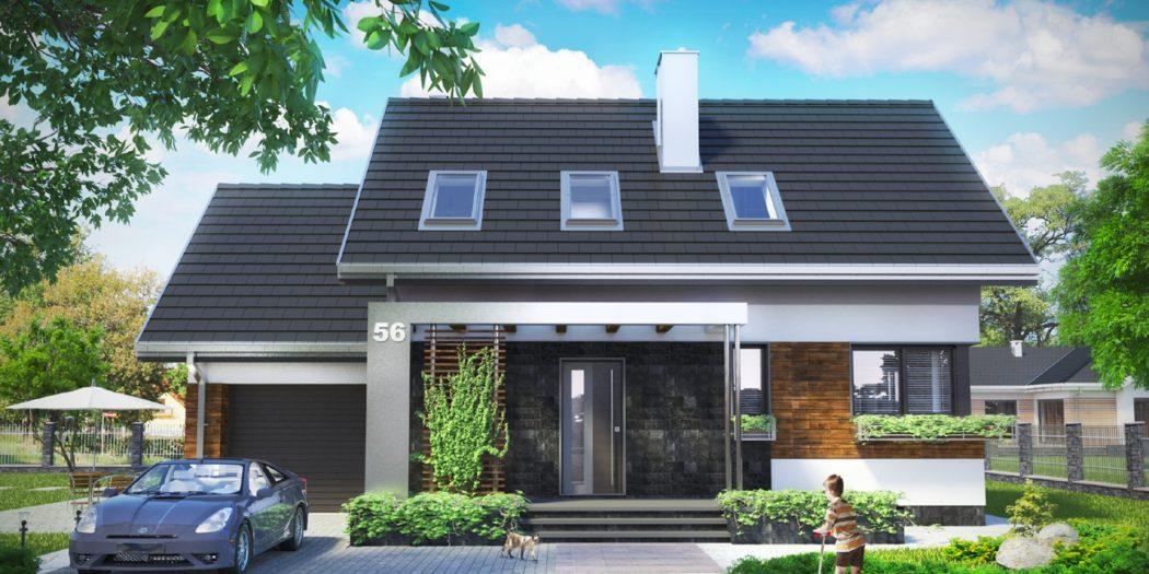 nowoczesny dom parterowy z poddaszem
