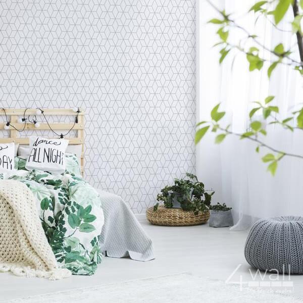 pokój z tapetą w delikatny wzór