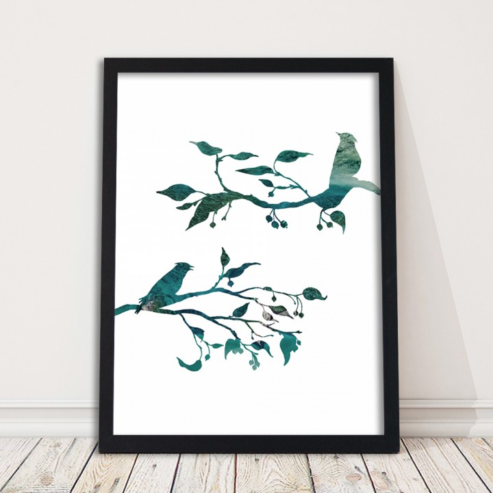 Ptaki na gałęziach - plakat