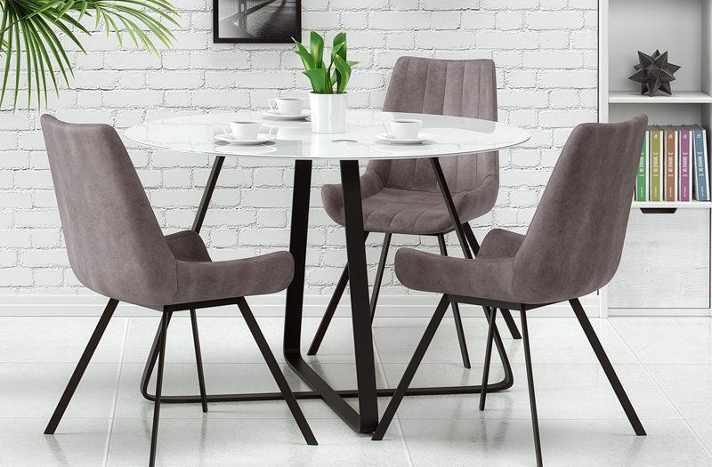 Biały stół szare fotele