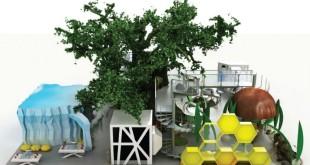 Wystawa interaktywna ze sztucznym drzewem