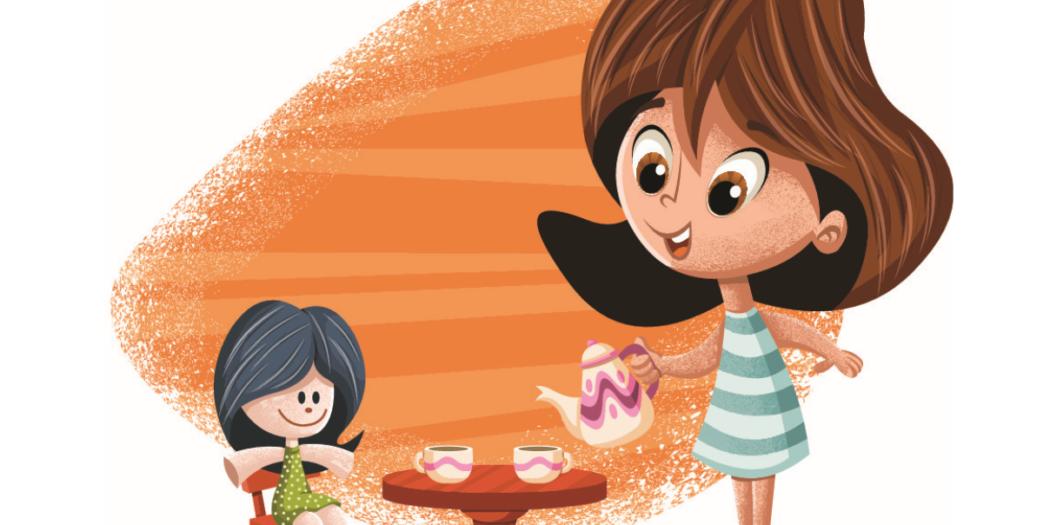 rysunek dziewczynka z lalką