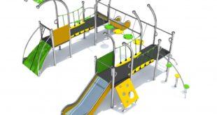 Żółto-zielony metalowy plac zabaw