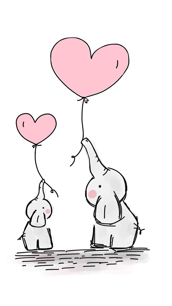 Słoniki z serduszkami dla dzieci