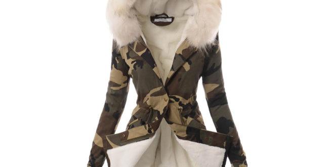 Damska kurtka ziowa z białym futerkiem