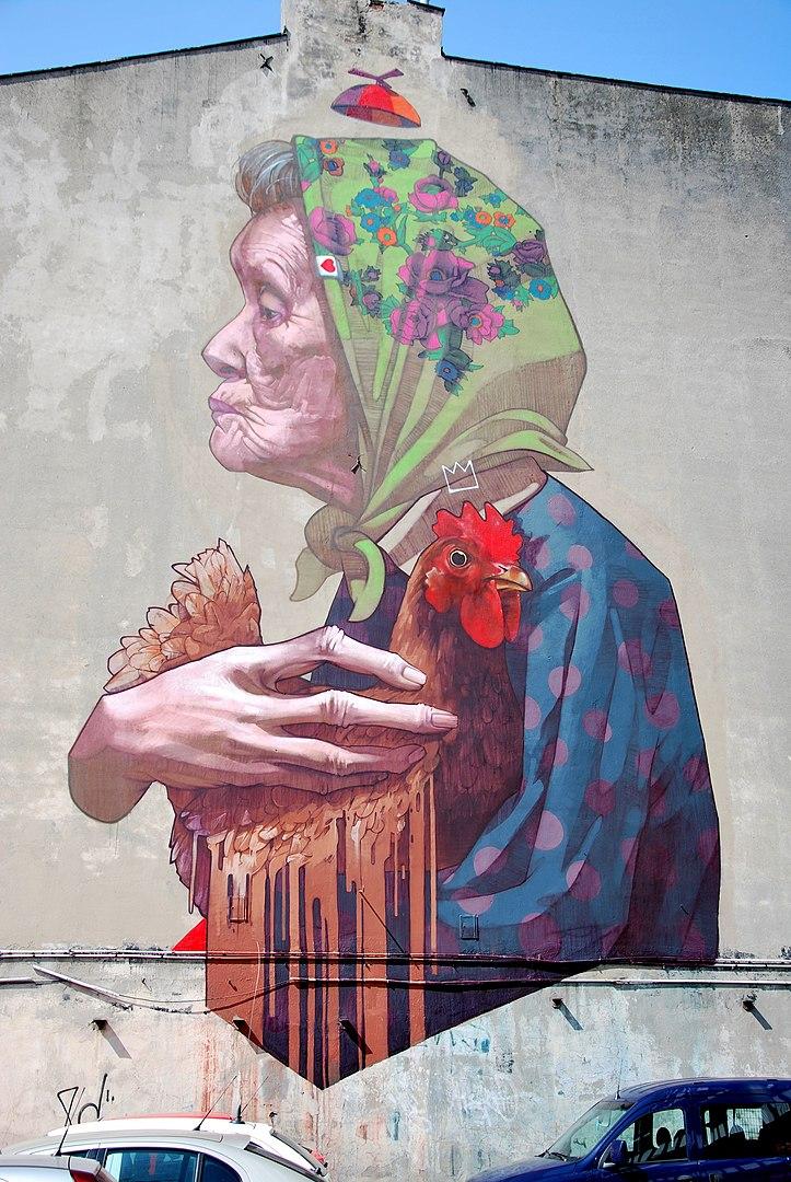 """Mural autorstwa grupy EtamCru (Polska), Łódź Al. Politechniki 16 inspirowany wierszem Juliana Tuwima """"W aeroplanie"""""""