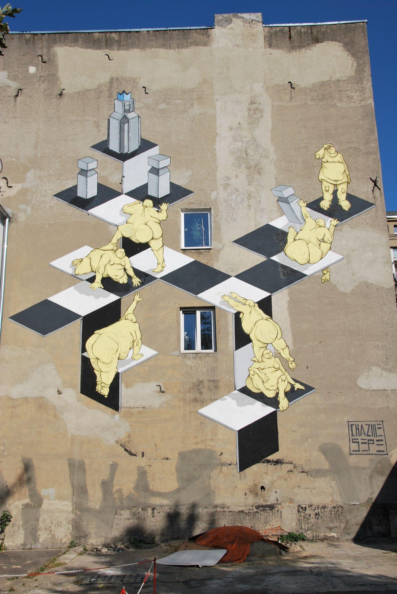 Mural autorstwa Sepe i Chazme (Polska) Łódź Próchnika 9