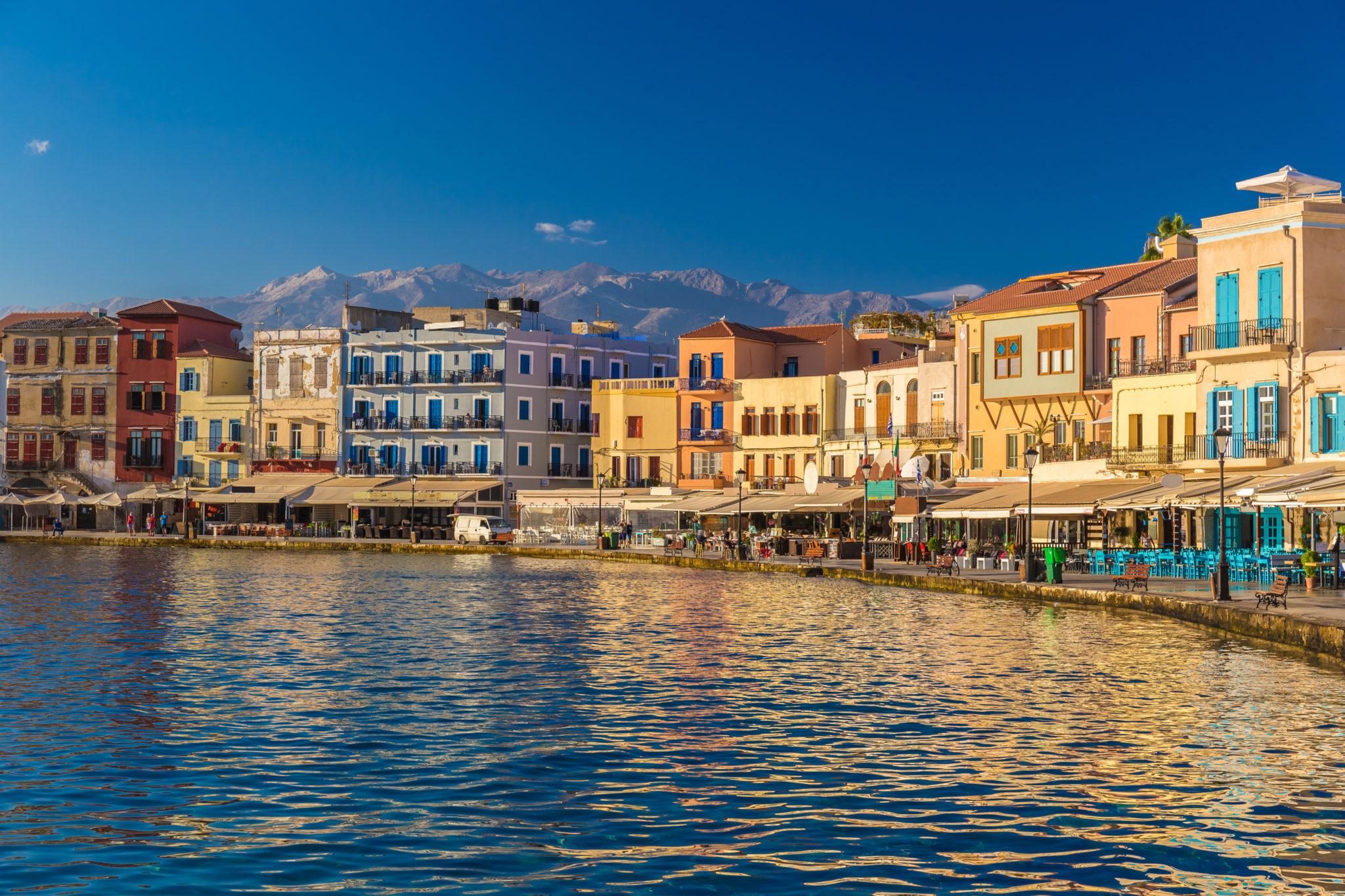 Malowniczy port Chania, Kreta