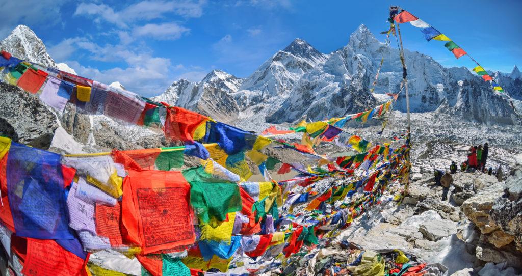 Mount Everest widok na panoramę Himalajów