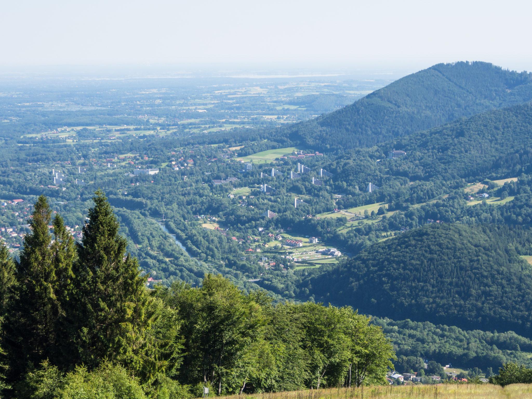 Panorama na Ustroń z polany Stokłosica, Beskid Śląski