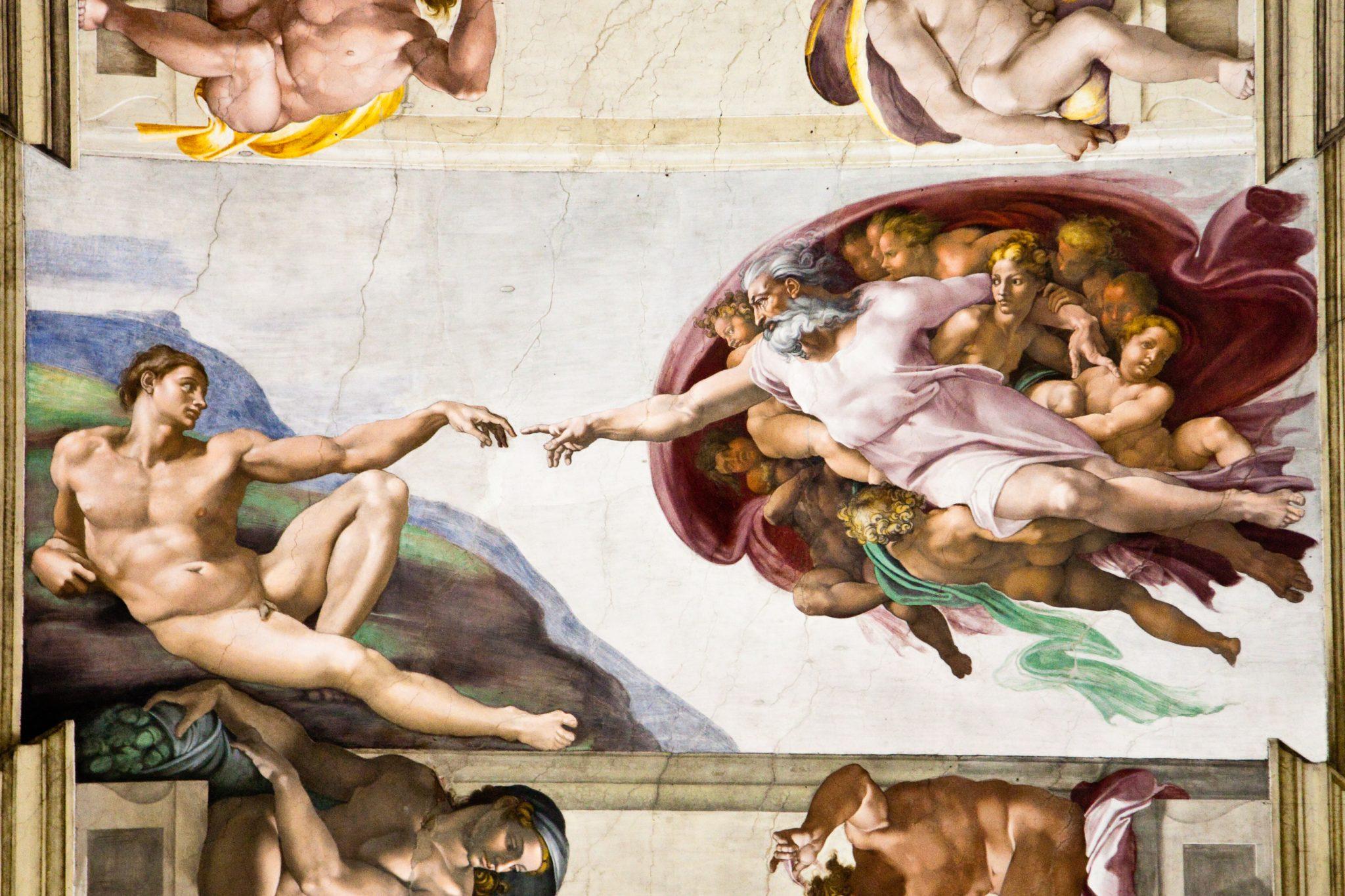 Stworzenie Adama fresk Michała Anioła w Kaplicy Sykstyńskiej w Watykanie