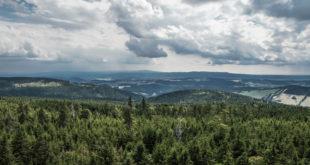 Widok z wieży na Wielkiej Sowie. Góry Sowie, dolnośląskie, Polska