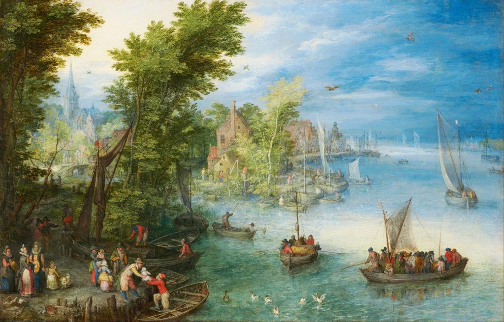 Na statkach panowała ciasnota, a więc i spora szansa na wybuch zarazy. Statek mógł rozbić się na skałach lub utopić podczas sztormu | fot.: Jan Brueghel Starszy, Krajobraz nad rzeką