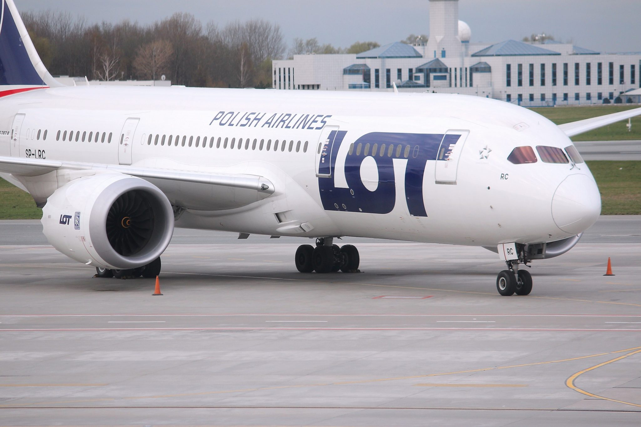 Boeing 787 Dreamliner LOT Polish Airlines at Warsaw Airport, Poland. LOT