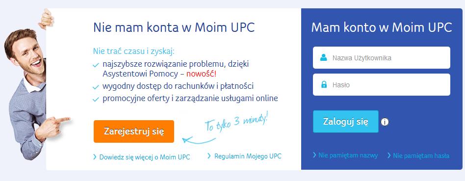 Moje UPC - logowanie